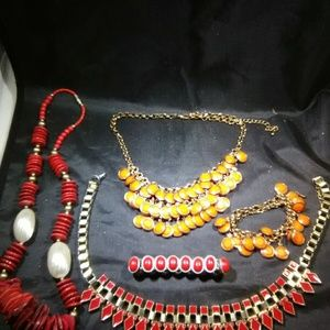 Vintage jewelry lot red set women's
